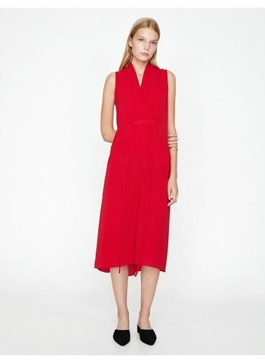 Koton V Yaka Uzun Elbise Kırmızı